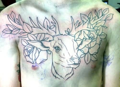 Deer And Flowers Tattoo Outline