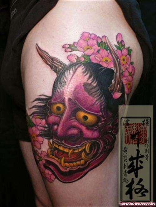 Pink Asian Devil Face Tattoo Design