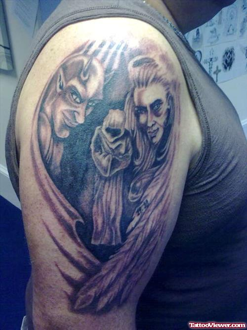 Devil n Demon Tattoo Design On Shoulder