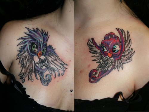 Angel And Devil Swallow Devil Tattoos On Collarbone