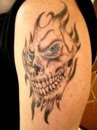 Devil Face Flaming Tattoo