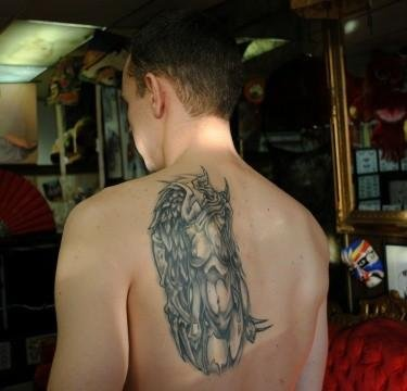Attractive Grey Ink Devil Tattoo On Man Back Body
