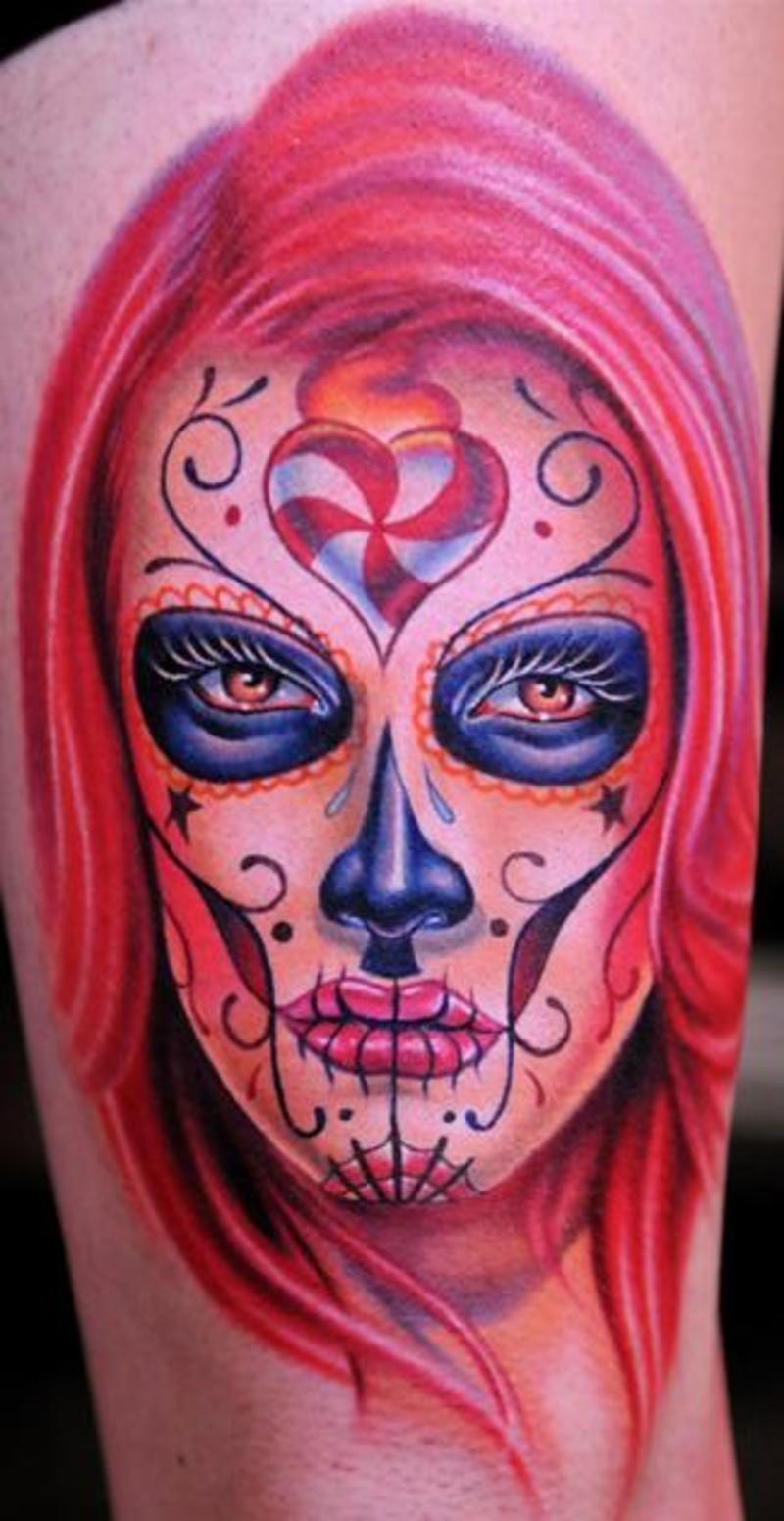 Dia De Los Muertos Devil Tattoo On Half Sleeve