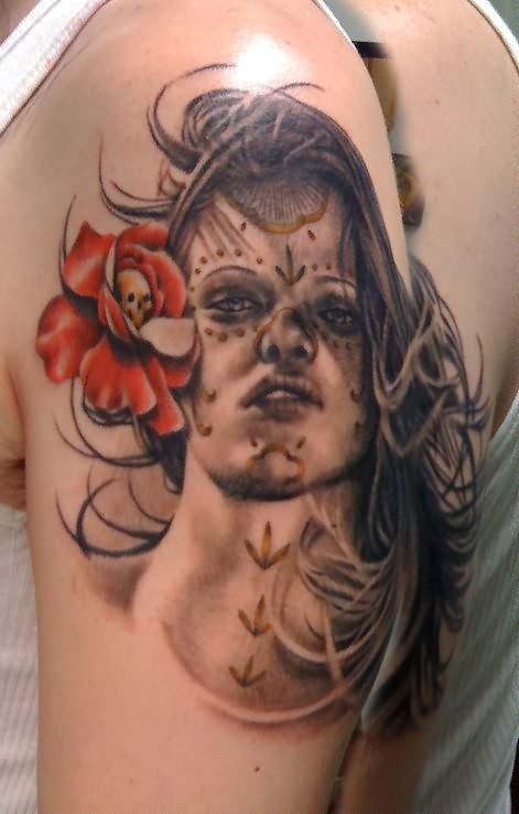 Angry Girl Dia De Los Muertos Tattoo