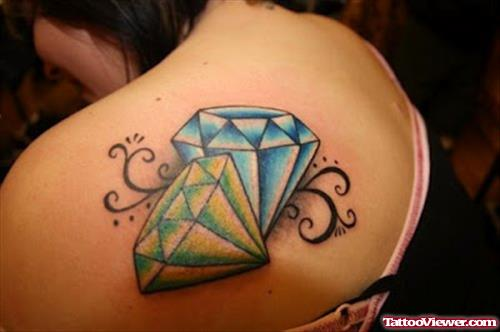 Diamond Tattoos On Back Shoulder