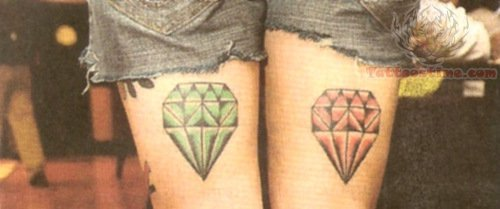 Green And Red Diamond Tattoos