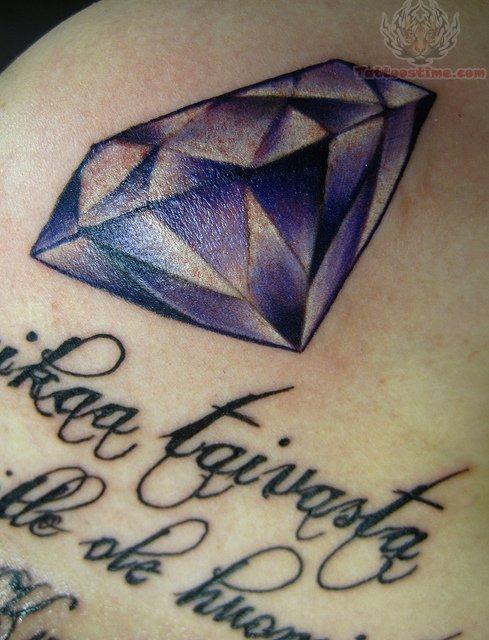 Diamond And Text Tattoo
