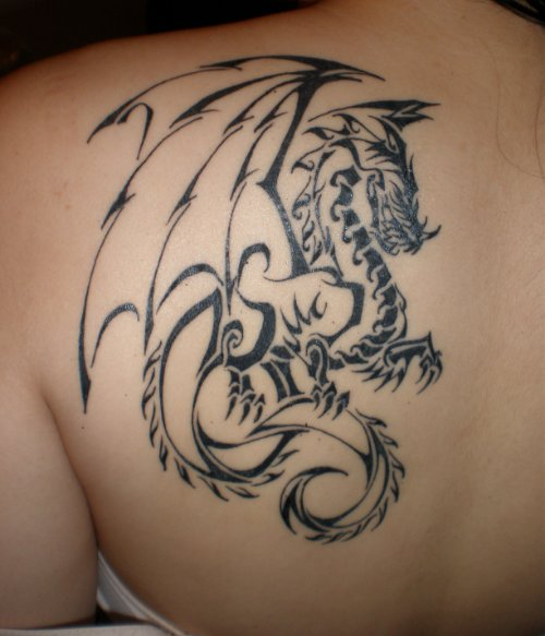 Devil Wings Dragon Tattoo On Back For Girls