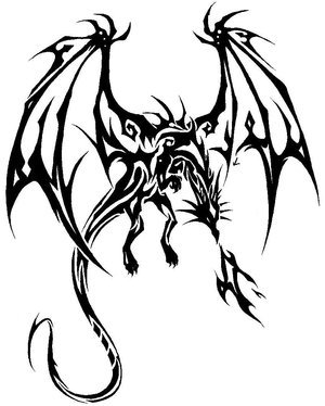 Dragon Flying Outline Tattoo Design