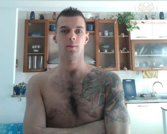 Dragon Tattoo On Men Chest