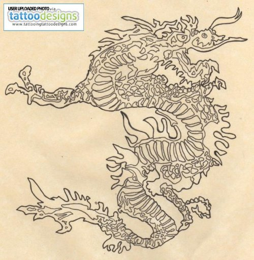 Wonderful Grey Ink Chinese Dragon Tattoo Design