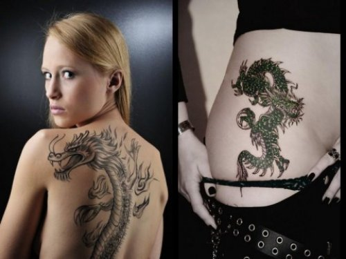 Girl With Dragon Tattoo On Back And Side