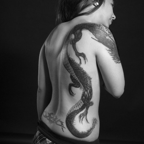 Dragon Tattoo On Girl Right Back