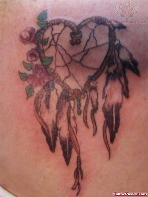 Dream Catcher Heart Tattoo