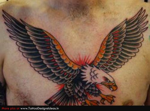 Man Chest Flying Eagle Tattoo