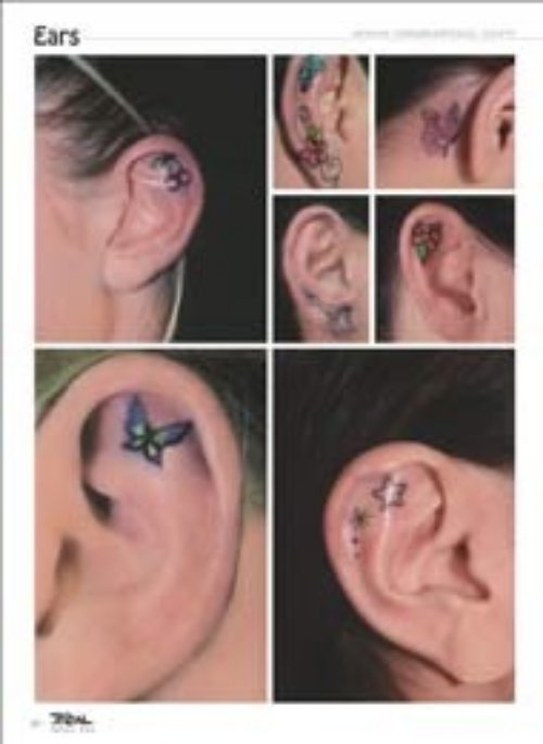 Small Butterfly And Stars Ear Tattoos