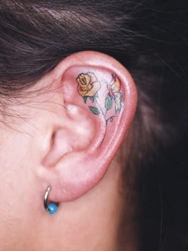 Yellow Rose Tattoo Inside Ear