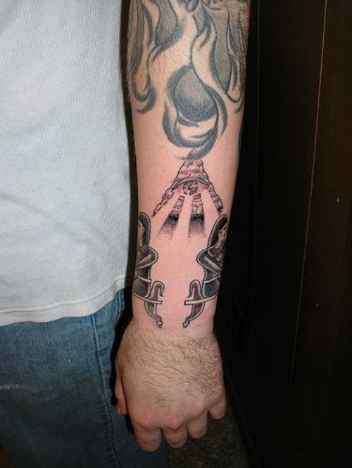 Egyptian Tattoo On Man Left Sleeve