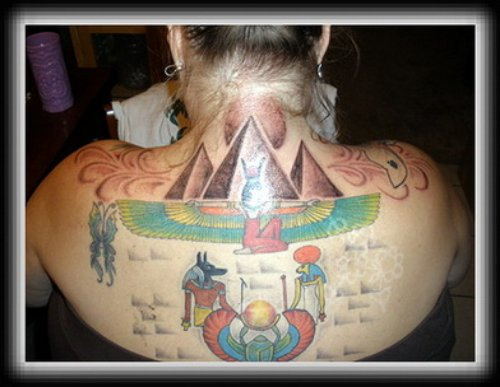 Beautiful Colored Egyptian Tattoo On Upperback