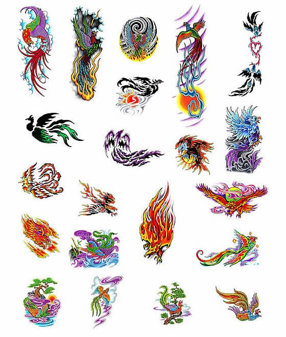 Colored Phoenix Egyptian Tattoo Design