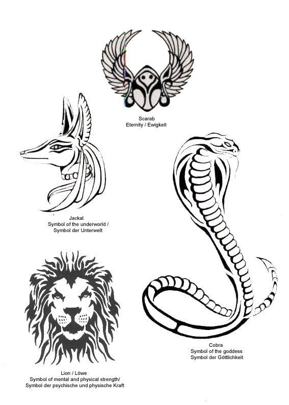 Egyptian Anubis And Snake Tattoos Design