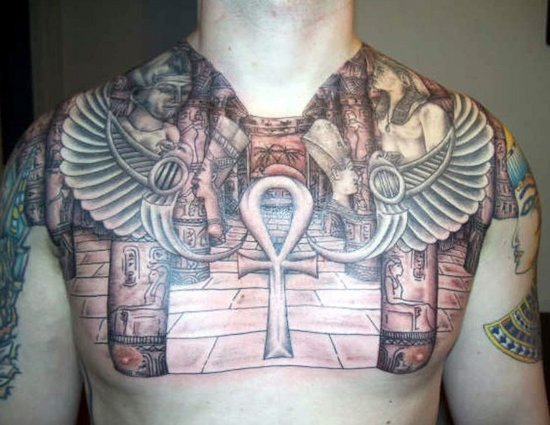 Awesome Grey Ink Egyptian Tattoo On Chest