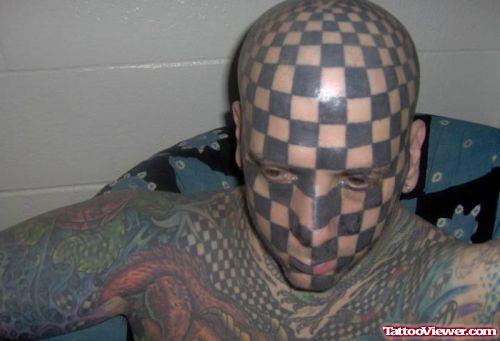 Extreme Chess Tattoo on Man Face and Head