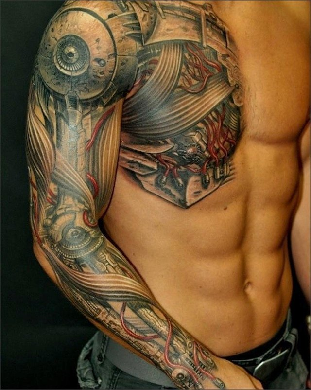 Robotic Extreme Tattoo On Chest And Sleeve