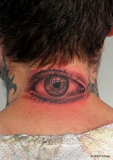 Grey Ink Eye Tattoo on Nape