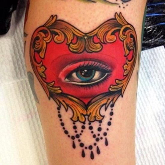 Red Heart And Eye Tattoo
