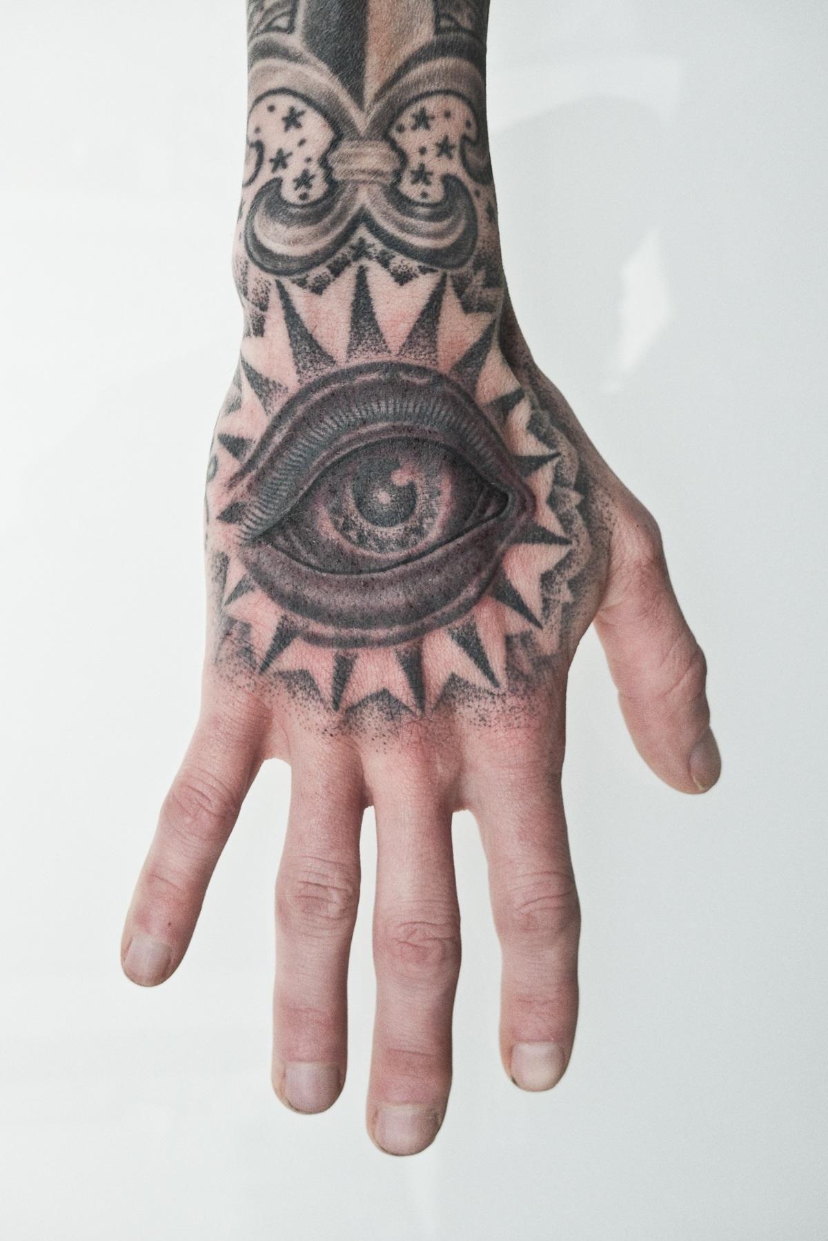 Grey Ink Eye Tattoo On Right Hand