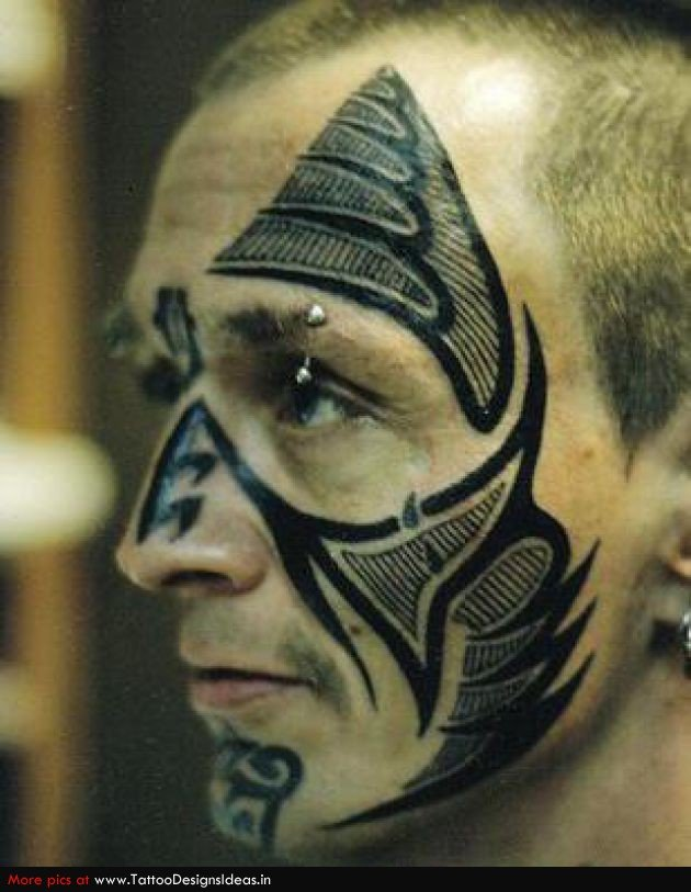 Wonderful Black Ink Tribal Face Tattoo For Men