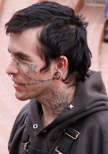 Pirate Skull And Wire Face Tattoo
