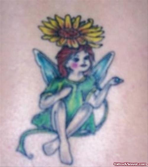 Yellow Flower Fairy Tattoo