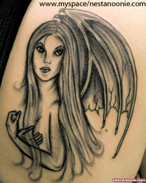 Grey Ink Fairy Tattoo