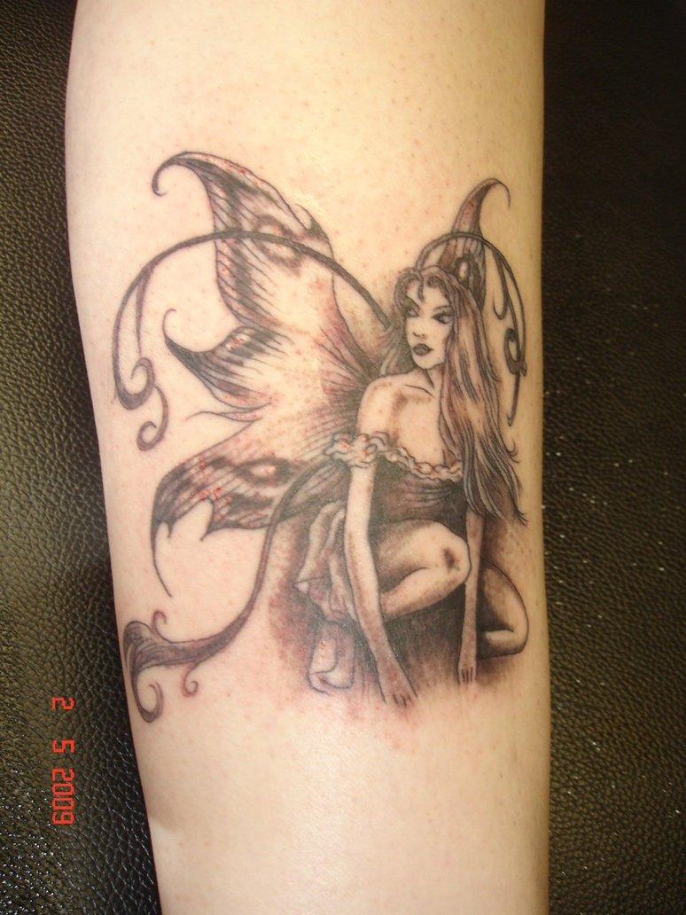 Grey Ink Fairy Tattoo On Sleeve