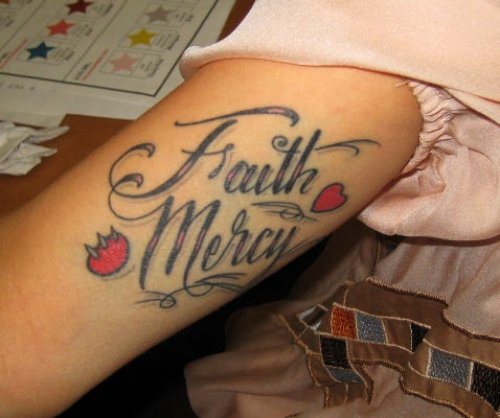 Tiny Red Heart Faith Mercy Tattoo On Sleeve