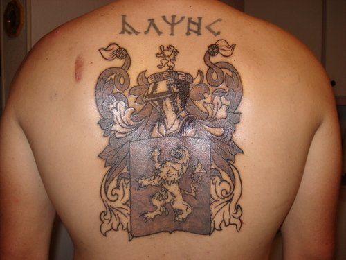 Cute Grey Ink Family Crest Tattoo On Back