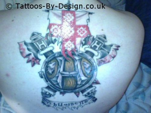 Back Body Family Crest Tattoo On Back