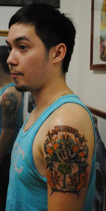 Guy Left Half Sleeve Family Crest Tattoo