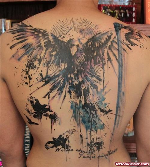 Abstract Eagle Fantasy Tattoo On Back Body