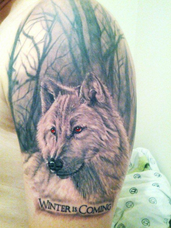 Red eyes Wolf Head Fantasy Tattoo On Left Half Sleeve