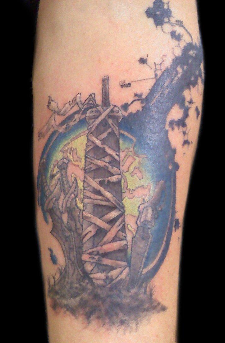 Grey Ink Final Fantasy Tattoo