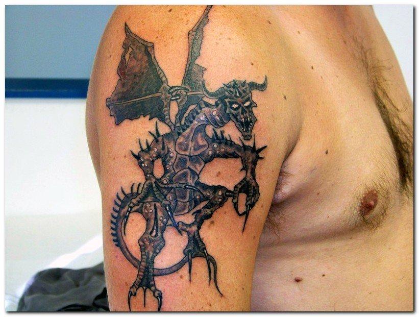 Awesome Fantasy Dragon Tattoo On Right Half Sleeve