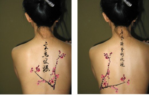 Cherry Blossom Flowers And Chinese Symbols Feminine Tattoo