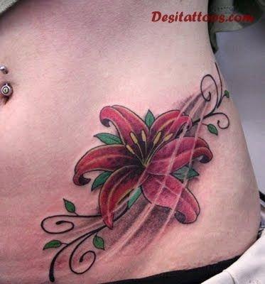Red Flower Feminine Tattoo On Hip
