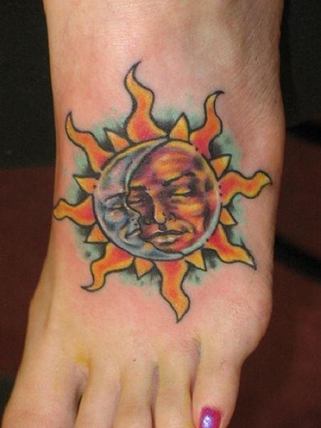 Feminine Sun Tattoo On Girl Left Foot