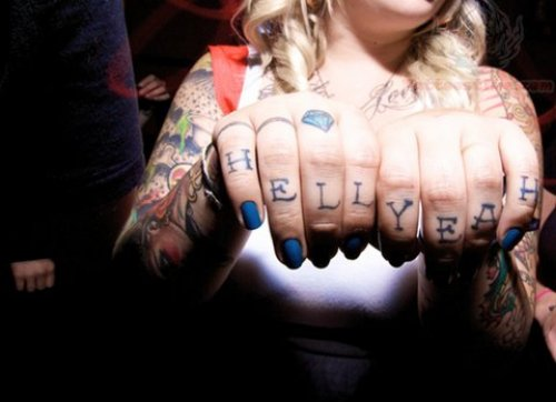 Hell Yeah Tattoo On Fingers