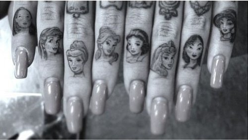 Disney Cartoons Portraits Finger Tattoos