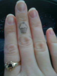 Cup Cake Finger Tattoo